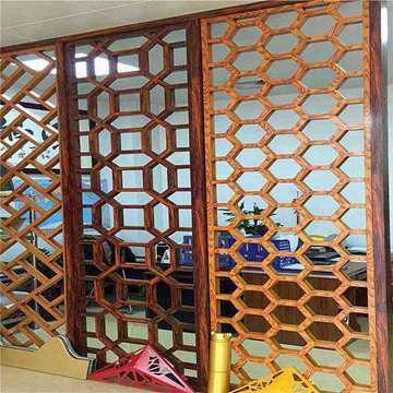 酒店别墅仿木装饰中式铝屏风
