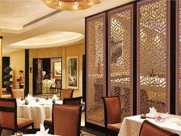 茶餐厅中式铝屏风布置