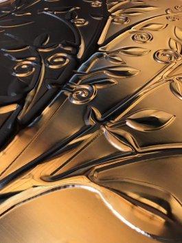 镜面玫瑰金20mm铝浮雕摇钱树背景墙壁画