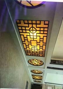 新中式客厅走廊铝窗花吊顶