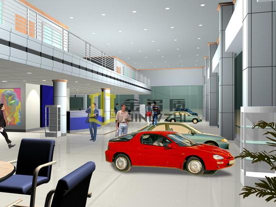 汽车展览馆室内外采用银灰色氟碳银铝单板幕墙效果