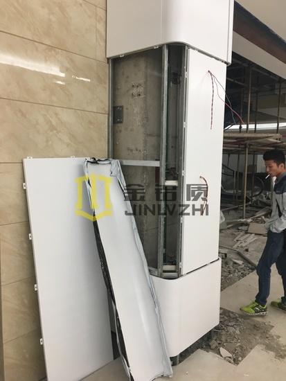 现场实拍 专业生产包柱铝单板和包梁铝板幕墙