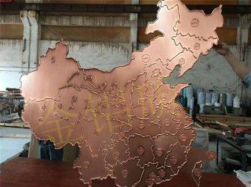 铝浮雕 中国金鸡地图